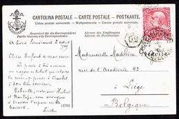 "MM N° 144 - Y & T N°106 - Seit Das Boot ""S.S. SEMIRAMIS"" Nach Lüttich (Be : Liège) - 2/4/1909 - RR!. - Briefe U. Dokumente"