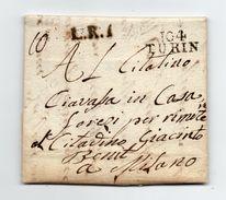 !!! PRIX FIXE: DEPT CONQUIS, 104 DEPARTEMENT DE L'ERIDAN, MARQUE POSTALE DE TURIN SUR LETTRE DE 1803 - Postmark Collection (Covers)