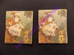 Lot De 2 Petits Calendreiers 1948 Epin Père Et Fils Fleurs Argenton Sur Creuse Pere Noel Bebe Avec Chien - Calendars