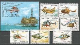 Vietnam 1989 , Used Stamps Set+ Block  Helicopters - Vietnam