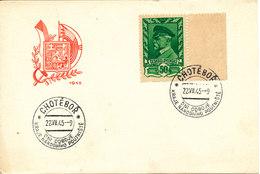 Czechoslovakia Card With President Masaryk 50 Hal Chotebor 22-7-1945 - Czechoslovakia