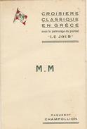 Menu Bateau Paquebot Champollion Grèce Journal Le Jour 1937 - Bateaux