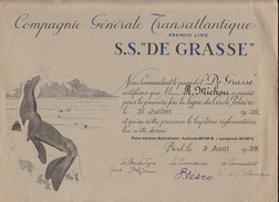 Rare Baptême S.S. De Grasse Compagnie Générale Transatlantique Bateau Paquebot Ligne Du Cercle Polaire 1938 Spitzberg - Boten