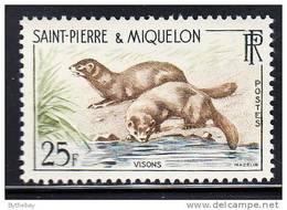St Pierre Et Miquelon 1959 MNH Scott #359 25fr Mink - St.Pierre Et Miquelon
