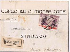 Piego Osped.Monfalcone ->Muscoli Strassoldo ( Cervignano-Udine) Aff. 2 X 50c Pubblicitari Columbia Con Vignetta Tagliata - 1900-44 Vittorio Emanuele III