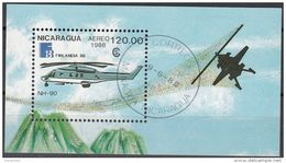 1718 Nicaragua 1988 Elicotteri NH-90 Sheet Perf. Helicopters - Elicotteri