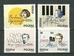 POLAND MNH ** 3174-3177 NICOLAS COPERNIC FREDERIC CHOPIN HENRYK SIENKIEWICZ MARIE CURIE PRIX NOBEL Piano Musique - 1944-.... République