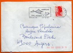 15 AURILLAC ENTRE MER ET MONTAGNE ( Dos Mal Ouvert )  1987  Lettre Entière N° HH 660 - Postmark Collection (Covers)