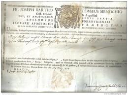 FR. JOSEPH BARTHO LOMAEUS MENOCCHIO ORD. EREMIT S. AUGUSTINI 1814  COD Doc.115 - Decreti & Leggi