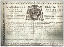 NICOLAUS BENINCASA  NOBILIS MUTINENSIS CAMERNENSISI ECCLESIAE ARCHIEPISCOPUS 1804 COD Doc.111 - Decreti & Leggi