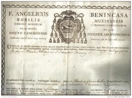 ANGELICUS BENINCASA  NOBILIS MUTINENSIS CAMERNENSISI ECCLESIAE ARCHIEPISCOPUS 1800 COD Doc.112 - Decreti & Leggi