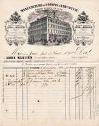 1883 - TOULOUSE (31) Place Des Carmes - Rue Pharaon - Manufacture De COTONS A TRICOTER - Maison Louis MERCIER - Historical Documents