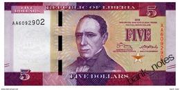LIBERIA 5 DOLLARS 2016 Pick 31 Unc - Liberia
