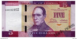 LIBERIA 5 DOLLARS 2016 Pick 31a Unc - Liberia