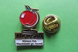 Pin's, Informatique, Informatik, MICROSOFT Makes The Macintosh Go Round, Apple, Pomme, Apfel - Trademarks