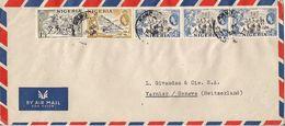 MARCOPHILIE LETTRE PAR AVION NIGERIA DE 1955  TP NO 77 79 ET 81 YT - Nigeria (1961-...)