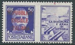 1944 RSI PROPAGANDA DI GUERRA 50 CENT VARIETà MACCHIE INCHIOSTRO MNH ** - I30-2 - 4. 1944-45 Repubblica Sociale