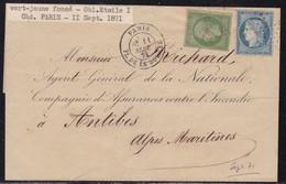 Paris, étoile 1 Place De La Bourse Sur LSC Du 11 Septembre 1871 - Postmark Collection (Covers)
