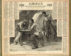 (CALENDRIER) ALMANACH 1901 Des Postes Et Telegraphes (la Lettre A La Payse) - Calendars