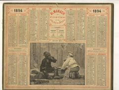 (CALENDRIER) ALMANACH 1894 Des Postes Et Telegraphes (les 2 Amis) - Grossformat : ...-1900