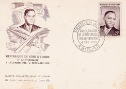 Carte Oblitération Premier Jour Proclamation De La République ABIDJAN 04/12/1959 - A.O.F. (1934-1959)