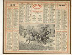 (CALENDRIER) ALMANACH 1899 Des Postes Et Telegraphes (cyclistes Et Taureaux) - Calendars