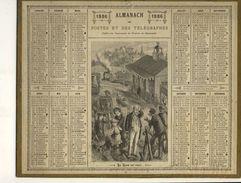 (CALENDRIER) ALMANACH 1886 Des Postes Et Telegraphes (le Train Est Parti) - Calendars