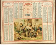 (CALENDRIER) ALMANACH 1893 Des Postes Et Telegraphes (barbier Du  Village ) - Calendars