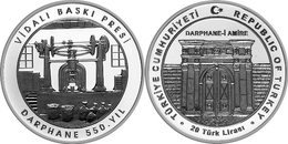 AC - 550th ANNIVERSARY OF TURKISH MINT COMMEMORATIVE SILVER COIN SCREW PRESS TURKEY 2017 PROOF UNCIRCULATED - Turquia