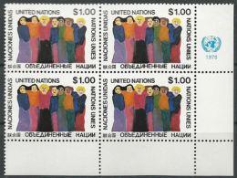 UNO NEW YORK 1978 Mi-Nr. 317 Eckrandviererblock ** MNH - New York -  VN Hauptquartier