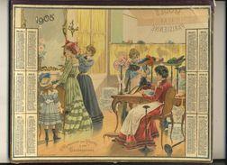 (CALENDRIER) ALMANACH 1905 Des Postes Et Telegraphes (chromo) Double - Calendars