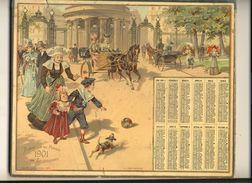 (CALENDRIER) ALMANACH 1901 Des Postes Et Telegraphes (chromo) Double - Calendars