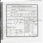 1861 - RECU Pour Une DEPECHE TELEGRAPHIQUE De ANGERS (MAINE ET LOIRE) => LAVAL (MAYENNE) - Marcophilie (Lettres)