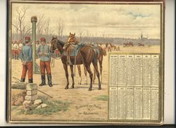 (CALENDRIER) ALMANACH 1899 Des Postes Et Telegraphes( Hussards A L Exercice)) Chromo (double) - Calendars