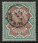 India Queen Victoria, 1895, 3 Rupees Brown & Green , Used SUKKUR  9 AU 97 C.d.s. - India (...-1947)
