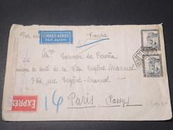 ESPAGNE - Enveloppe Par Exprès Par Avion Avec Censure De Barcelone Pour La France En 1937  - L 11203 - Republikanische Zensur
