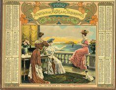 (CALENDRIER) ALMANACH 1910 Des Postes Et Telegraphes(  Le Thé Sur La Terrasse) - Calendars