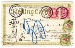 Tokio 17. April 1899 AK Nach Schaffhausen, Schweizer Strafportomarken 10 +20 Rappen; Eine Marke Oben Rechts Ohne Ecke - Japon