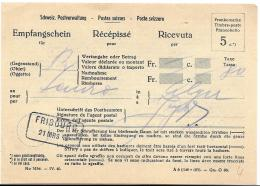 76 - 25 - Récépissé Avec Cachet Rectangulaire De Fribourg 1942 - Poststempel