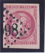 80 C N° 49 Rose  Signé Calves TB. - 1870 Emission De Bordeaux