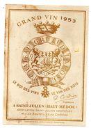 Etiquette Vin Saint Julien Gruaud Larose 1953 - Bordeaux
