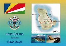 1 AK Seychellen North Island * Flagge Und Wappen Der Seychellen, Landkarte Und 2 Ansichten Von North Island * - Seychelles