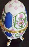 Vintage BIG Porcelain Eggs BIG Porzellan Ei Faberge Style Dose Mit Deckel, Deckeldose Jewelry Box  Porcelain Eggs - Oeufs