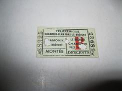 TELEFERIQUE CHAMONIX -PLAN PRAZ-BREVENT-montèe-descente Vecchio Biglietto In Cartoncino - Transportation Tickets