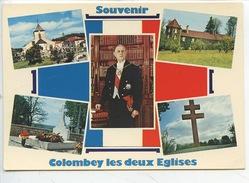 Souvenir Colombey Les Deux églises Multivues : Portrait Général De Gaulle Boisserie Sépulture Mémorial (n°021) - Colombey Les Deux Eglises