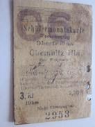 SCHULERMONATSKARTE-PERSONENZUG Titre De Transport Ticket Carte Ferroviaire Mensuel Chemin De Fer Allemagne Chemnitz - Bahn