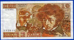 10 FRANCS BERLIOZ BILLET FRANCAIS D.288 N° 232944 TROUS BONNE DEFINITION ! 4-3-1976 - NOTRE SITE Serbon63 - 10 F 1972-1978 ''Berlioz''