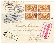 06.05.1924 R-Flugbrief Zürich-Tegernsee Mit Flugpostmarke 35 Rappen In 4-er Block - Poste Aérienne