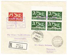 1925 Flugbrief: Genf-Mailand Mit 4-er Block 20 Rappen - Luftpost