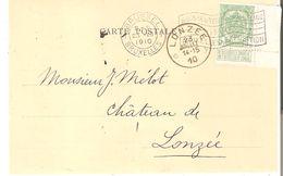 CP.(Dietrich & Cie - Editeurs) TP. 83 Avec Bord Flamme Bruxelles A Du 23/7/1910 V/ Dépôt-Relais De LONZEE - Postmark Collection